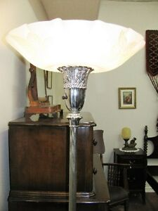 Antique Torchiere Lamp, Original Glass Shade, Working, Beautiful London Ontario image 5