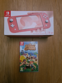 Nintendo switch lite coral colour with animal crossing