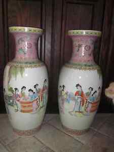 Vintage Chinese Hand Painted Vases