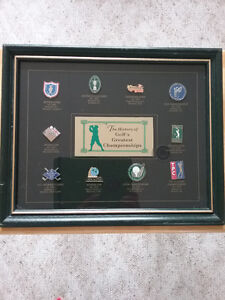 "Collection of framed ""GOLF PINS"" of Greatest Golf Championships."