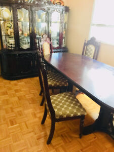 Hutch and buffet with dining table
