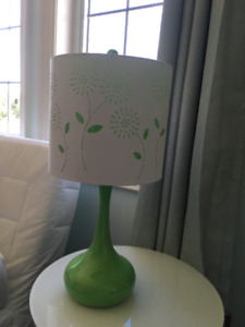 Green Lamp with Flower cutout lampshade