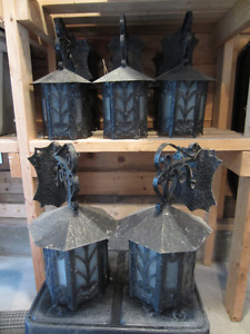 LARGE Antique Wrought Iron & Glass Exterior Lights (8 available)