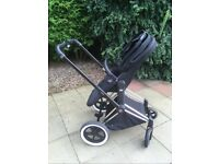 Cybex Priam 3 in 1 All Terrain Pram, Pushchair & carrycot with Cloud Q car seat & isofix base