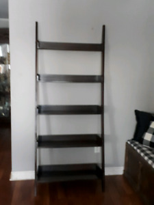 Dark walnut ladder shelf