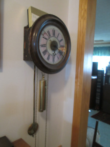 Antique Postman's alarm clock , Wag on the Wall weight driven