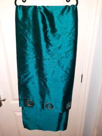 Pair of Teal Green Eyelet Curtains