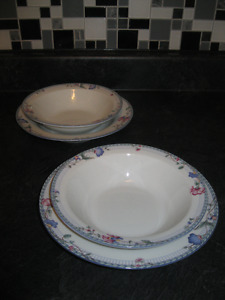 "TWO PAIR of ""ONEIDA"" SOUP BOWLS with MATCHING SOUP PLATES"