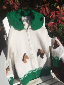 Vintage Mary Maxim Design (Horse) Hand-Knit Sweater/Jacket