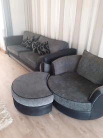 Grey and Black 4 seater sofa and swivel love chair.