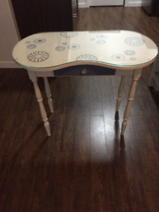 Glass Top Painted Antique Vanity