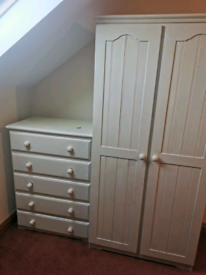 White wardrobe and chest drawers