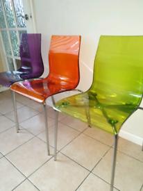 Acrylic Coloured Gel Chair - John Lewis x 3