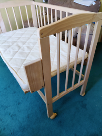 Wooden Bedside or drop side crib with mattress