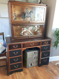 Desk and glass cabinet and antique lownger