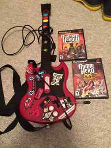 Guitar Hero Guitar and two PlayStation 2 Games