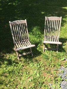 Pair of children's deck chairs