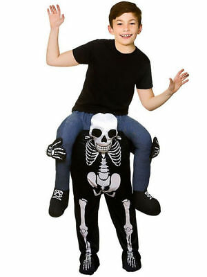Kids SKELTON Carry Me Halloween Scary Horror Fancy Dress Costume Mascot Children (Scary Mascot Costumes)