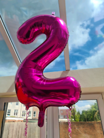 """Number 2 pink foil birthday balloon 34"""""""
