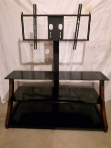 TV stand, 3 glass shelves, metal and wood frame, with mount