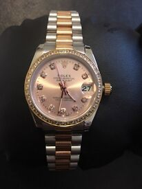 Ladies rose gold Rolex Datejust watch