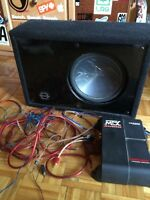 "10"" sub with box, amp, and all wires needed"