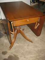 Solid Oak Drop Leaf Table with Decorative Brass Feet
