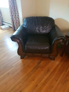 Faux leather couch and chair set