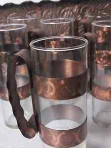 GLASSWARE GLASSES 6 TUMBLERS COPPER HANDLES -TRAY London Ontario image 3