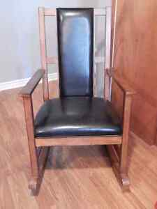 Wooden/Leather Rocking Chair