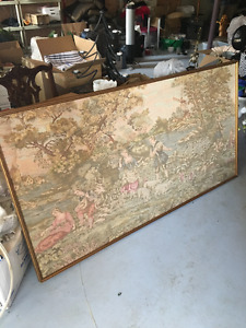 Antique Framed Woven Tapestry