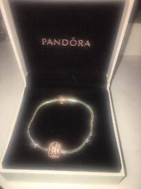 Rose gold pandora clasped bracelet with charm 17cm
