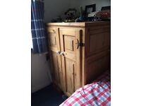 Stripped pine small wardrobe