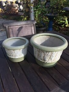 Matching Pair of acanthus leaf flower pots and one single pot