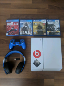 White PS4 500Gb with 4 games, a controller (2 for 20$ more) and