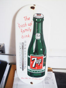 Lovely Complete 7 Up Porcelain Advertising 1960's Thermometer