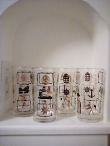 Antique nautical themed drinking glasses