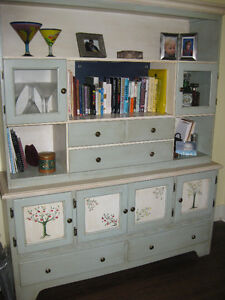 Hand painted hutch in two sections.