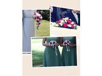 Artificial silk wedding flowers raspberry and cream
