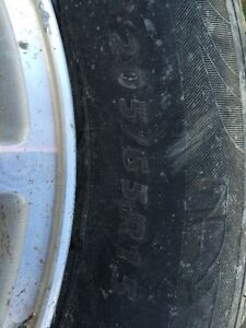 205/65/15 Winter tires on aluminum rims, off of a Ford Taurus Strathcona County Edmonton Area image 2