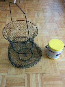 BAIT CAN, WORM BOX, WIRE FISH KEEPER