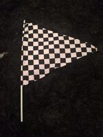 Checkered racing flag black white race car prop
