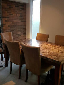 Six seat marble dining table