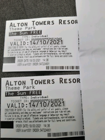 ALTON TOWER THEME PARK TICKETS 14th October