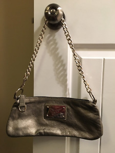 Leather Clutch Bag. Made in Italy. silver/pewter Brand New
