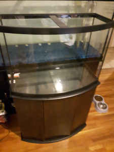 36 Gallon Bow Front with Wooden Stand and Accessories
