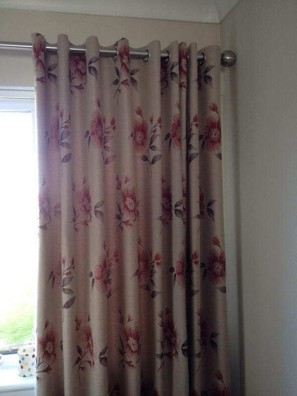 Two Sets Of Beautiful Lined Floral Long Curtains To Fit
