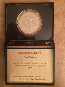Jamaica Proof Ten Dollars Sterling Silver Coin
