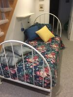 White Single Metal Bed Frame with Mattress