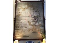 Japanese Meiji Period Silk Screen